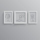 Set av vita fotoramar stock illustrationer