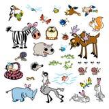Set av wild djur för barnslig tecknad film Royaltyfria Bilder
