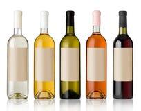 Set av wineflaskor. Fotografering för Bildbyråer