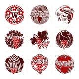 Set av winevektoretiketter och emblem Arkivfoton