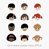Set of avatar children head. Set of avatar children. Icon Royalty Free Stock Image
