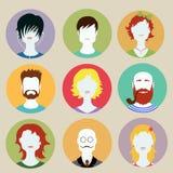 Set of avatar flat design icons Royalty Free Stock Photo