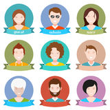Set of avatar flat design. People avatar male and female human faces social network icons set isolated  illustration in style flat design Stock Photo