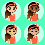 Set avatar girl with different skin. Set girl avatars  on turquoise background. Woman with different skin tones. Beautiful girls in cute and simple flat cartoon Stock Images