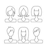 set avatar girls contour on white background isolated Royalty Free Stock Photos