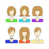 set avatar girls on the shoulders without a face Stock Photography