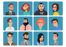 Set of avatar icons. Business cartoon concept. Vector creative Stock Photography