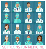 Set of  avatar icons characters for medicine Royalty Free Stock Images