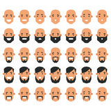 Set of avatar icons in flat style. Head men with different emoti Stock Image