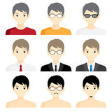 Set avatar man cartoon picture profile business Stock Photography
