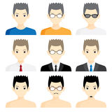 Set avatar man cartoon picture profile business Royalty Free Stock Photo