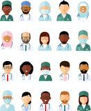 Set of avatar medical people doctor and nurse. Vector illustration of avatar medical team doctor practitioner physician nurse Royalty Free Stock Photo