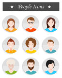Set of avatar in style flat design. People avatar male and female human faces social network icons set isolated  illustration in style flat design Royalty Free Stock Photo