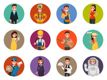 Set avatars characters of different professions: firefighter, as Stock Image