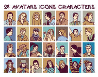 Set avatars colors people icons characters. Stock Photos