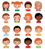 Set of avatars of different boys and girls. Vector illustration set of different avatars of boys and girls on a white background Stock Photo
