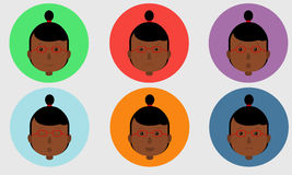 Set of avatars expressing various emotions. Vector illustration in cartoon style. Royalty Free Stock Photo