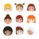 Set of avatars, flat icons for web. Stock Photo