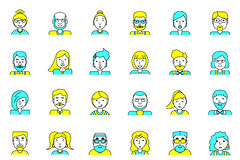Set of avatars. Flat style. Line colorful icons collection of people for profile page, social network, social media, website and m Royalty Free Stock Image