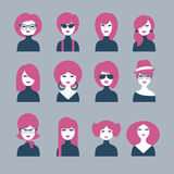 Set of 12 avatars girls. Comic style royalty free illustration