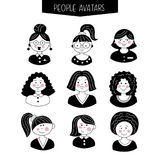 Set of avatars. Girls with different hairstyles. Hand-drawn. Black picture vector illustration