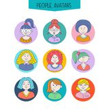 Set of avatars. Girls with different hairstyles. Hand-drawn. Color picture stock illustration
