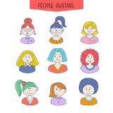 Set of avatars. Girls with different hairstyles. Hand-drawn. Color picture royalty free illustration