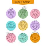 Set of avatars. Girls with different hairstyles. Hand-drawn. Line drawing royalty free illustration