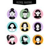 Set of avatars. Girls with different hairstyles. Hand-drawn. vector illustration