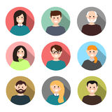 Set of avatars with long shadow. Vector illustration, flat icons. Characters for web Stock Photo