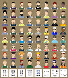 Set of avatars man. Set of avatars. Flat icons man with removable sunglasses or whiskers. Characters for web Stock Photography