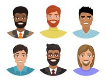 Set of avatars with men of different nations. royalty free illustration