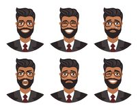 Set of avatars of men expressing various emotions: joy, sadness, laughter, tears, anger, disgust, cry. royalty free illustration