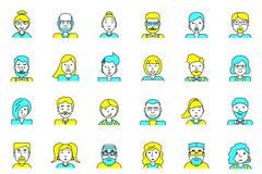 Set avatars Mieszkanie styl Kreskowa kolorowa ikony kolekcja ludzie dla profilowej strony, ogólnospołecznej sieci, ogólnospołeczn ilustracji