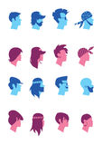 Set avatars music fans. Big set of avatars of music fans. Silhouettes of people with a beard, wearing a cap with a ring in his ear, with a punk hairstyle Royalty Free Stock Photos
