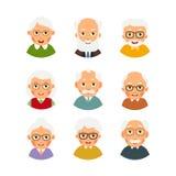 Set avatars older people. Kit avatars elderly people. Selection. Cartoon illustration isolated on white background in flat style Stock Photo