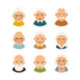 Set avatars older people. Kit avatars elderly people. Selection. Cartoon illustration isolated on white background in flat style Stock Images
