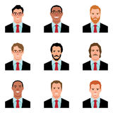 Set of avatars portraits of men in suits Royalty Free Stock Images