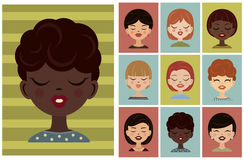 Set of avatars, profile pictures. Vector girls avatar, flat icons. Royalty Free Stock Photo