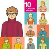 Set of 10 avatars style flat Royalty Free Stock Photo