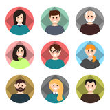 Set of avatars. Vector illustration, flat icons. Characters for web Royalty Free Stock Image