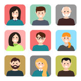 Set of avatars. Vector illustration, flat icons. Characters for web Royalty Free Stock Images