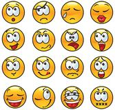 Set of avatars. Vector Set of many kinds emotions on yellow circles Vector Illustration