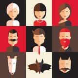 Set of avatars of women, men, animal. Royalty Free Stock Photography
