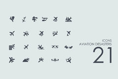 Set of aviation desasters icons Stock Photography