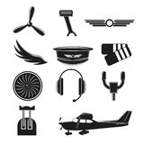 Set of aviation icons. Small aviation symbols and elements. Vector badges illustration vector illustration