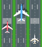 Set of Aviation Vector Airplanes on Runways. Illustration. Plane, airport, takeoff, grass, marking, lights. Vector informative poster, banner illustration. For Royalty Free Stock Photos