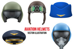 Set of Aviator Helmets and hats. Headgear for aviation professional workers. Vector Illustration Isolated on white background Royalty Free Stock Photo