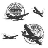 Set of aviators club labels Royalty Free Stock Image