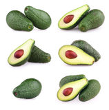 Set of avocados isolated on white Stock Images